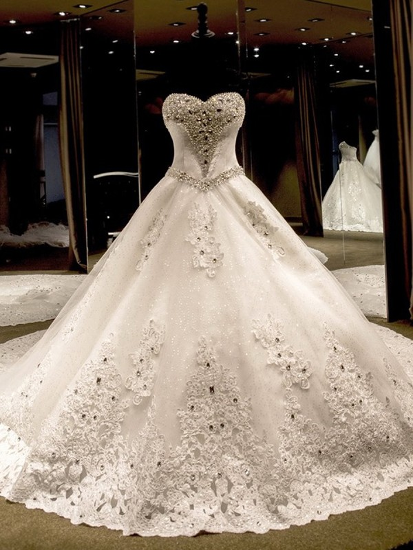 Ball Gown Sleeveless Sweetheart Cathedral Train Sequin Tulle Wedding Dress
