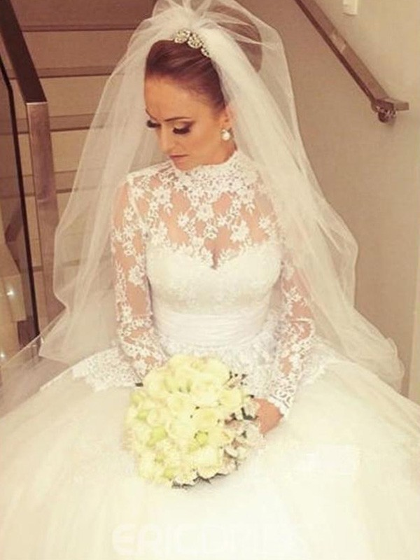 Ball Gown Long Sleeves High Neck Sweep/Brush Train Lace Wedding Dress