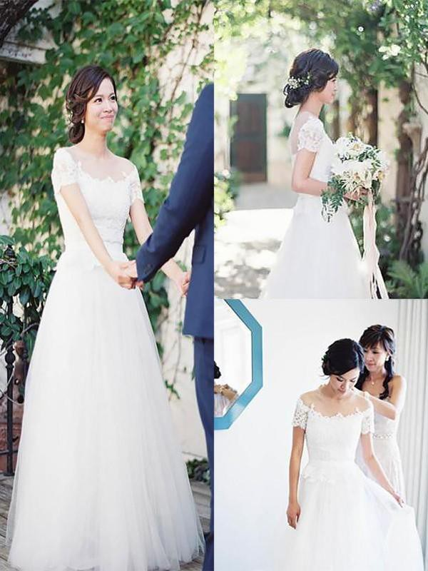 A-Line Tulle Lace Off-the-Shoulder Short Sleeves Floor-Length Wedding Dress