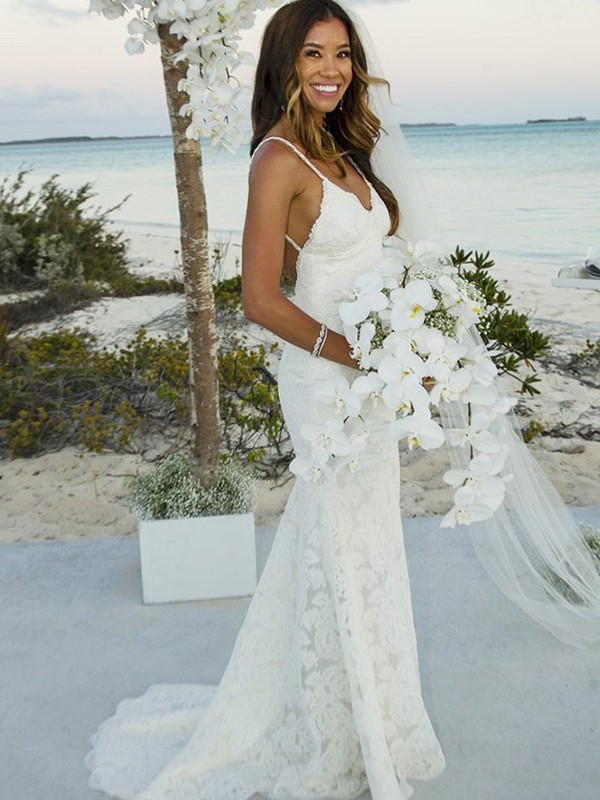Mermaid Sleeveless Lace Spaghetti Straps Sweep/Brush Train Wedding Dress