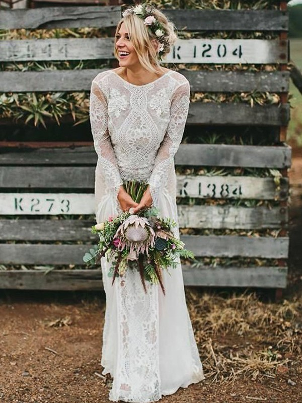Gorgeous Sheath Lace Scoop Long Sleeves Floor-Length Wedding Dress