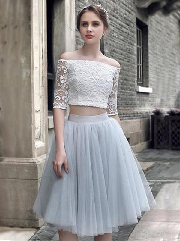 A-Line Tulle Off-the-Shoulder Knee-Length Two Piece Dress